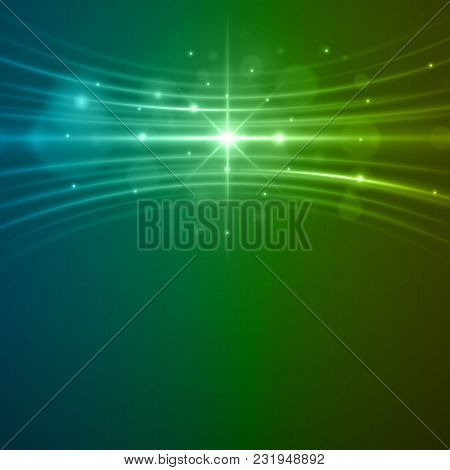 Smooth Light Blue Green Waves Lines And Lens Flares Vector Abstract Background. Good For Promotion M