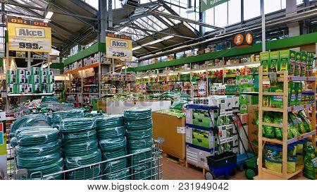 Kolin, Czech Republic - March 17, 2018: Shelves With Garden Goods In Obi Store. Obi Is The Largest D