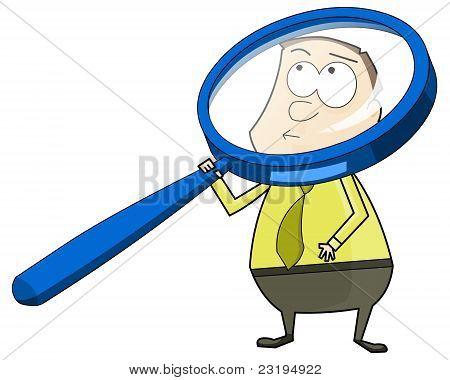 Man met grote Vergrootglas