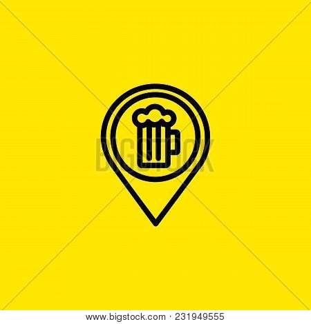 Icon Of Beer Mug In Pointer Mark. Map, Location, Sign. Bar And Drinks Concept. Can Be Used For Topic