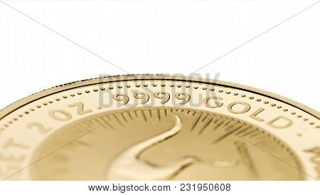 A Fragment Of A Gold Coin Weighing 2 Troy Ounce Isolated On White. Selective Focus.