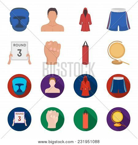 Boxing, Sport, Round, Hand. Boxing Set Collection Icons In Cartoon, Flat Style Vector Symbol Stock I
