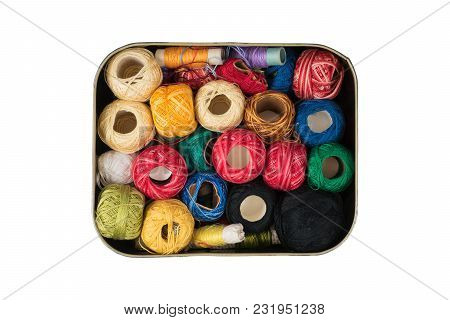 Path Saved, Isolated Metal Box Full Of Colourful Sewing Threads On A White Background