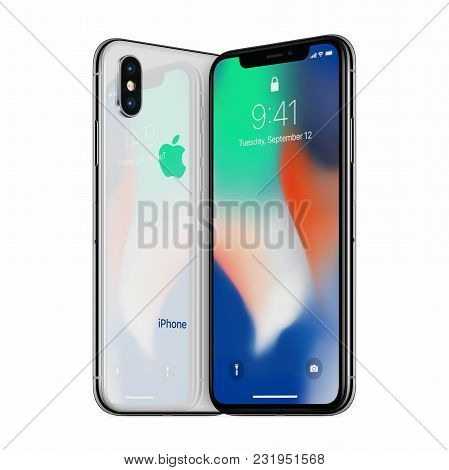 Varna, Bulgaria - January 23, 2018: Silver Turned Apple Iphone X Front Side And Iphone X Back Side F
