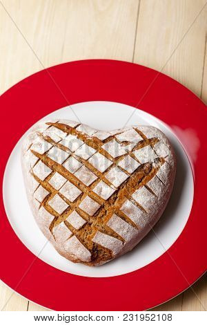 Overview Of A Heart Shaped Home Made Rye Bread