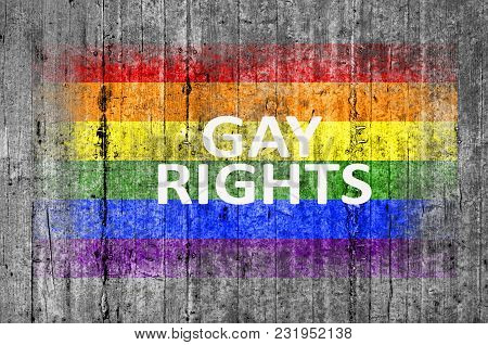 Gay Rights And Lgbt Flag Painted On Background Texture Gray Concrete