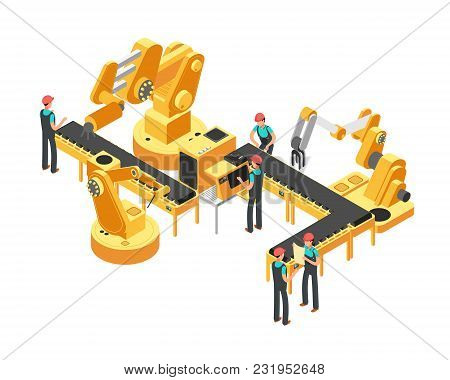 Conveyor Production Line Automotive Industry And Automation Control Isometric Vector Concept. Automa