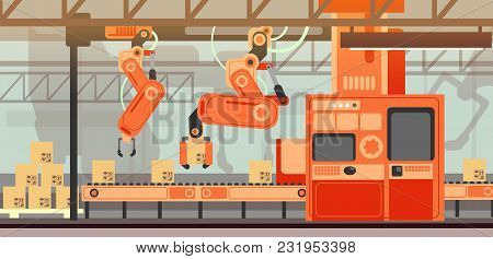 Abstract Marketing Vector Concept With Manufacturing Assembly Production Line Conveyor Belt. Industr