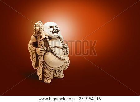 Asian decorative figurine Hotai, amulet brings happiness. With clipping path