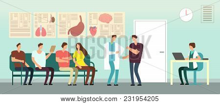 Patients And Doctor In Hospital Waiting Room. Disabled People At Doctors Office. Healthcare Vector C