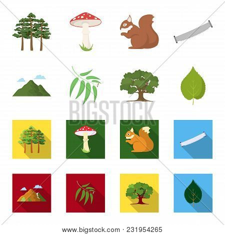 Mountain, Cloud, Tree, Branch, Leaf.forest Set Collection Icons In Cartoon, Flat Style Vector Symbol