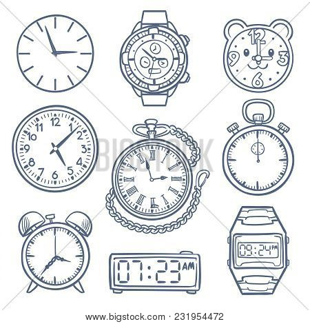 Doodle Watch, Clock Vector Icons. Hand Drawn Time Vector Icons Isolated. Clock And Watch Time, Illus