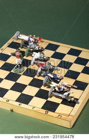 Tin Soldiers Of The Napoleonic Wars Of 1812 On A Chessboard