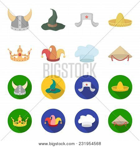 Crown, Jester Cap, Cook, Cone. Hats Set Collection Icons In Cartoon, Flat Style Vector Symbol Stock