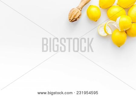 Yellow Citrus Fruit Set With Lemons On White Background Top View Mock-up