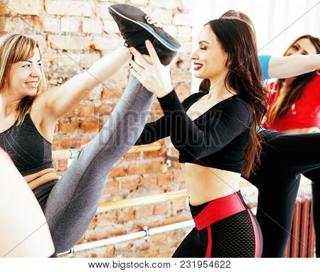 Women Doing Sport In Gym, Jumping, Healthcare Lifestyle People Concept, Modern Loft Studio Close Up