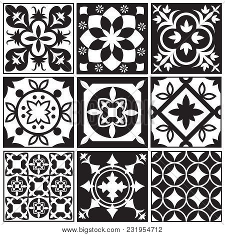 Vintage Monochrome Repeating Tiles. Moroccan Mediterranean Tiled Floor Vector Patterns. Illustration