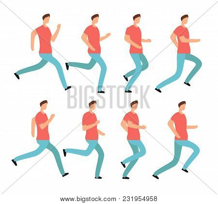 Cartoon Running Man In Casual Clothes. Young Male Jogging. Animation Frames Sequence Isolated Vector