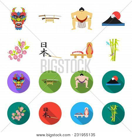 Geta, Sakura Flowers, Bamboo, Hieroglyph.japan Set Collection Icons In Cartoon, Flat Style Vector Sy