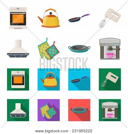 Kitchen Equipment Cartoon, Flat Icons In Set Collection For Design. Kitchen And Accessories Vector S