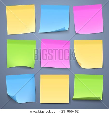 Blank Color Message Sticky Papers Vector Set. Reminder Sheet Memo, Post Sticky Sticker For Message I
