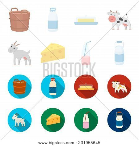 Goat, A Piece Of Cheese And Other Products. Milk Set Collection Icons In Cartoon, Flat Style Vector