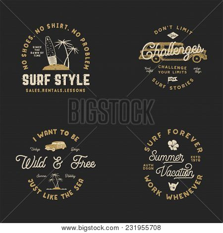 Vntage Hand Drawn Surfing Graphics And Emblems For Web Design Or Print. Surfer Logotypes. Surf Logo.