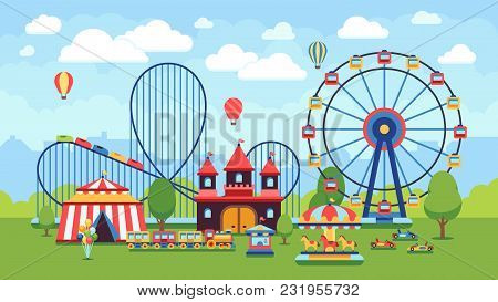 Cartoon Amusement Park With Circus, Carousels And Roller Coaster Vector Illustration. Circus Park An