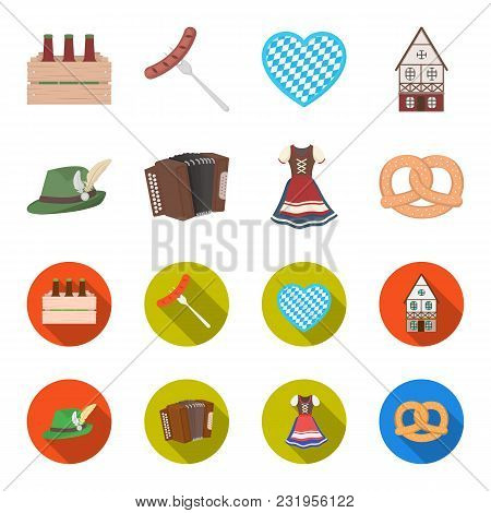 Tyrolean Hat, Accordion, Dress, Pretzel. Oktoberfest Set Collection Icons In Cartoon, Flat Style Vec