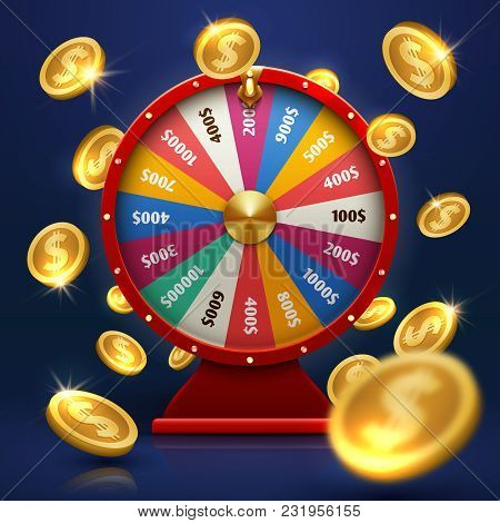 Fortune Wheel And Gold Coins. Lucky Chance In Game Vector Background. Illustration Of Wheel Fortune