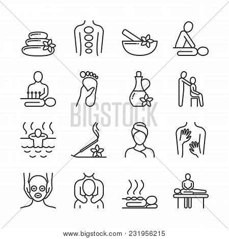 Relaxing Massage And Organic Spa Line Pictograms. Hand Therapy Vector Icons. Spa And Therapy, Massag