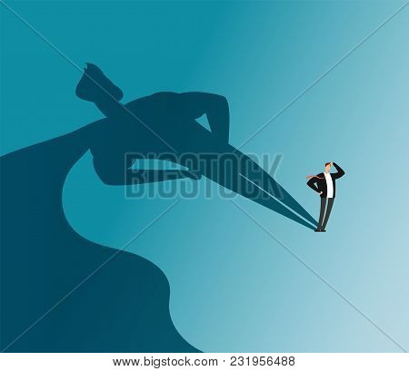 Businessman With Superhero Shadow. Ambition And Business Success Vector Concept. Leadership Super He