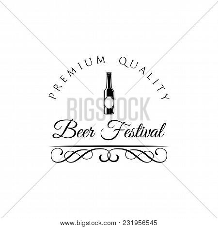 Beer Festival Emblem. Beer Bottle Icon With Swirly Lines, Ornate Frames And Filigree Elements. Vecto