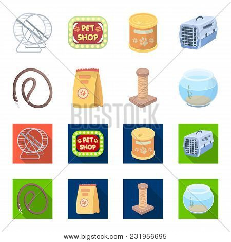 Leash, Feed And Other Zoo Store Products.pet Shop Set Collection Icons In Cartoon, Flat Style Vector