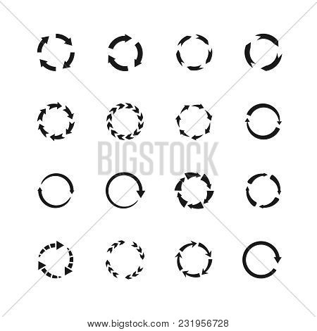 Round Motion Arrow Vector Symbols. Circle Arrows Icons. Round Motion Arrow Symbol, Recycling Simple