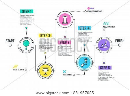 Company Journey Path. Infographic Roadmap With Steps Line Timeline. Business Path Development, Infog