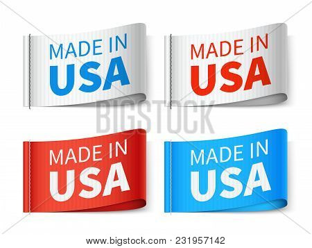 Made In Usa Textile Tags, Fashion Label Vector Set. Usa Tag Label, Made In America Emblem Illustrati
