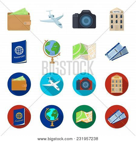 Vacation, Travel, Passport, Globe .rest And Travel Set Collection Icons In Cartoon, Flat Style Vecto