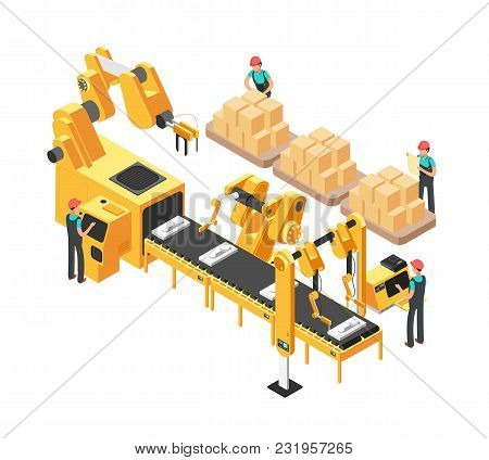 Isometric Electronic Factory With Conveyor Assembly Line, Operators And Robots. 3d Vector Illustrati