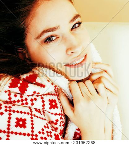 Young Pretty Brunette Girl In Christmas Ornament Blanket Getting Warm On Cold Winter, Freshness Beau