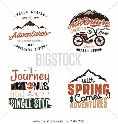 Vintage Adventure Tee Shirts Designs, Summer Logo Set. Hand Drawn Travel Labels. Mountain Explorer,