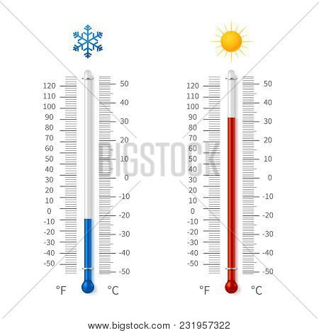Hot And Cold Weather Temperature Symbols. Meteorology Thermometers With Celsius And Fahrenheit Scale