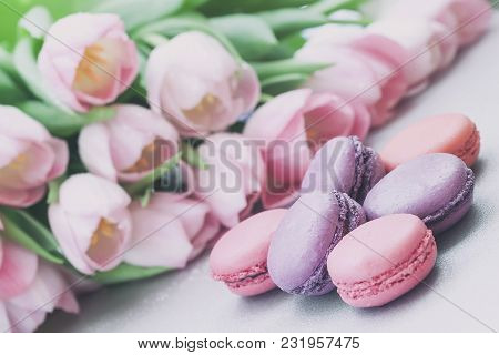 Pink And Violet Macarons, Spring Flowers, Tulips, Tender Pastel Background. Romantic Morning, Gift,