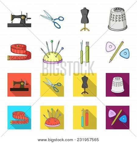 Measuring Tape, Needles, Crayons And Pencil.sewing Or Tailoring Tools Set Collection Icons In Cartoo