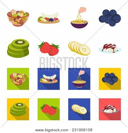 Fruits And Other Food. Food Set Collection Icons In Cartoon, Flat Style Vector Symbol Stock Illustra