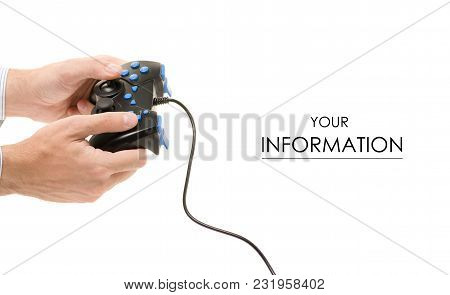 Joystick In Hand Pattern On A White Background Isolation