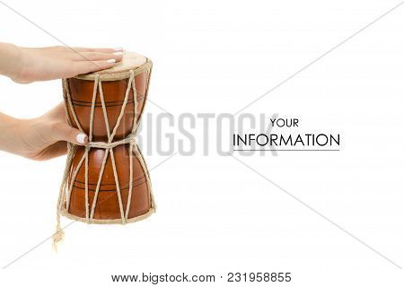 The Little Drum In Hand Pattern On White Background Isolation