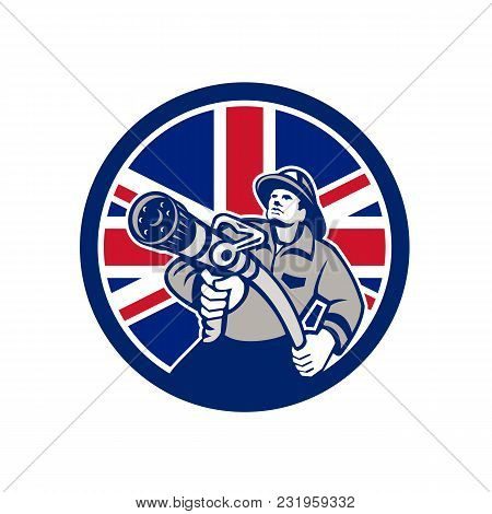 Icon Retro Style Illustration Of A British Firefighter Or Fireman Holding A Fire Hose Front View  Wi