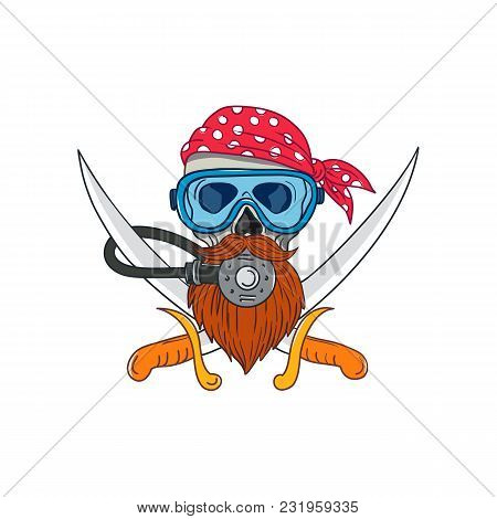 Drawing Sketch Style Illustration Of A Pirate Skull With Hipster Beard And Wearing A Diver Or Diving