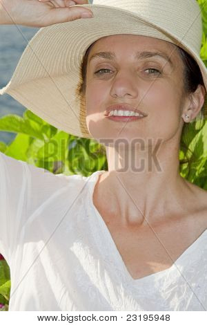 Happy woman with hat
